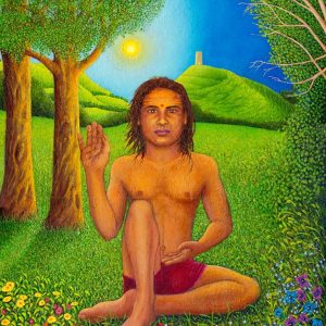 Babaji with Tor Unframed - radiant spirit art
